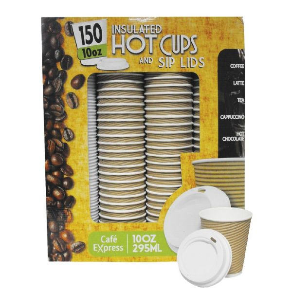150 Double Insulated 295ml/354ml Disposable Strong Coffee/Tea Cups & Sip Lids
